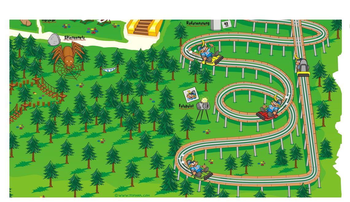 Illustration und  Maskottchen Kinderspielplatz Lauserland Alpine Coaster Alpbachtal Tirol Österreich